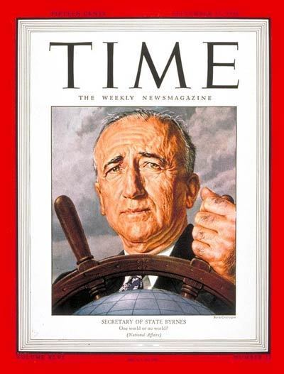 James F. Byrnes TIME Magazine Cover James F Byrnes Sep 17 1945