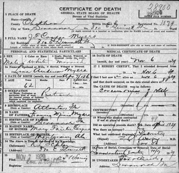 James Fairlie Cooper James Fairlie Cooper Myers 1867 1929 Find A Grave Memorial