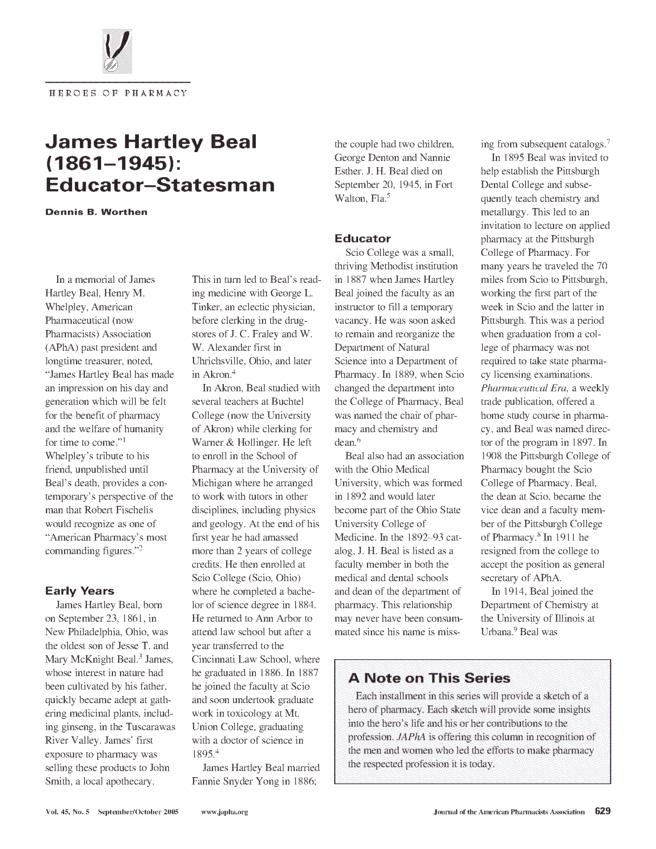 James Hartley Beal James Hartley Beal 18611945 EducatorStatesman ScienceDirect
