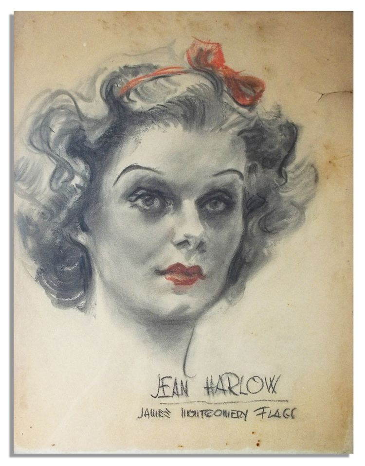 James Montgomery Flagg Lot Detail Charcoal Portrait of Jean Harlow by Famed