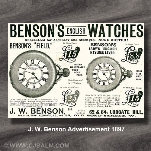 James William Benson wwwcjbalmcomwatchesimagesbensonad1897jpg