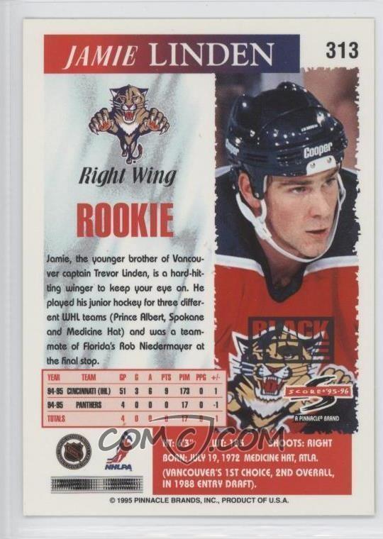 Jamie Linden (ice hockey) 199596 Score Base Black Ice 313 Jamie Linden COMC Card