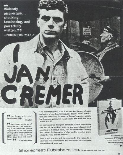 Jan Cremer Levenlang Het affiche voor de Amerikaanse uitgave van