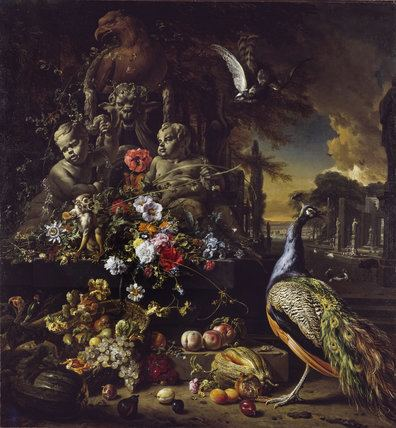 Jan Weenix Flowers on a Fountain with a Peacock by Jan Weenix at The