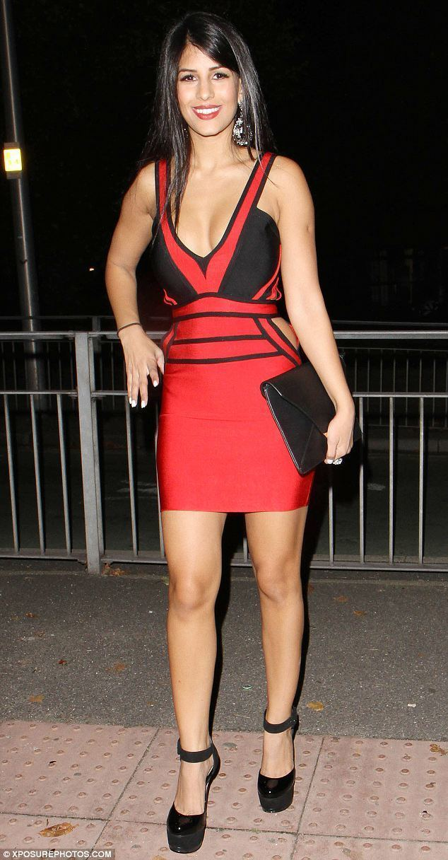 Jasmin Walia TOWIE39s Jasmin Walia wears scarlet cutaway dress as she