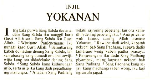 Javanese language The Bible in Javanese