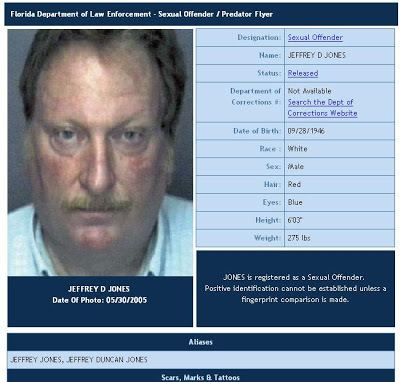 Some information about Jeffrey Jones registered as a sexual offenders