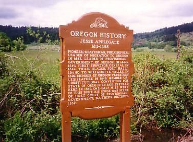 Jesse Applegate Historical Marker Jesse Applegate Oregoncom