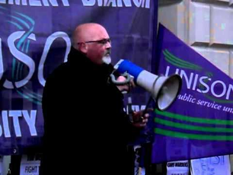 Jim Board Jim Board speaks at the UNISON Demonstration Against the Cuts in