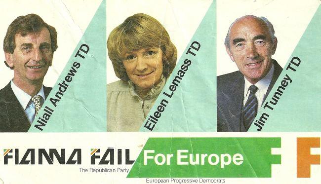 Jim Tunney (Irish politician) Niall Andrews Eileen Lemass Jim Tunney Fianna Fail 1984 European