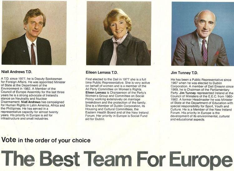 Jim Tunney (Irish politician) Leaflet from Niall Andrews Eileen Lemass Jim Tunney Fianna Fail