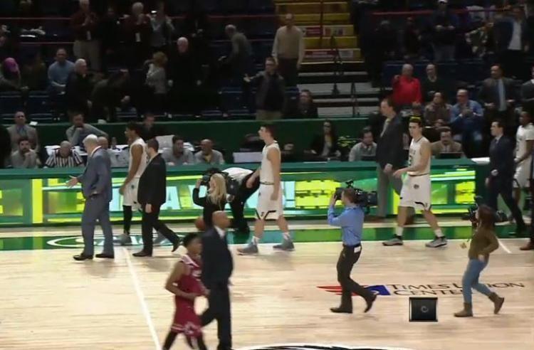 Jimmy Patsos Siena head coach Jimmy Patsos pretends to handshake Rider players