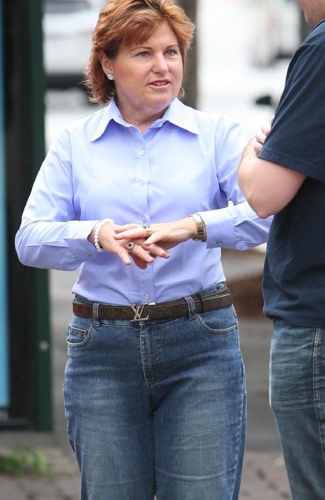 Jo-Ann Miller Police Minister JoAnn Miller wears fake Louis Vuitton belt to