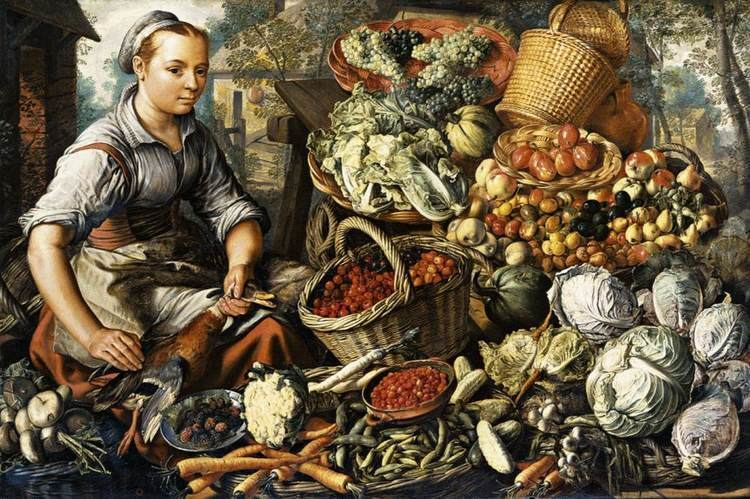Joachim Beuckelaer Market Woman with Fruit Vegetables and Poultry by