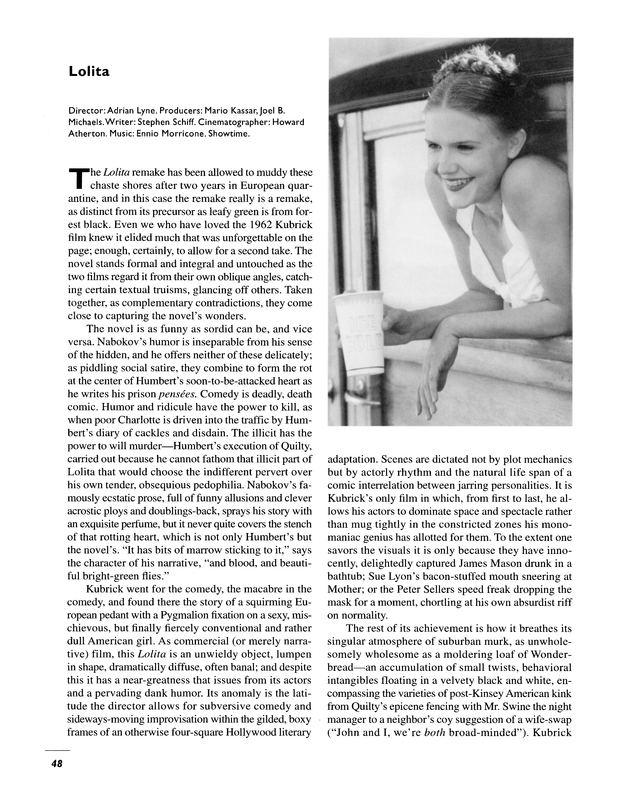 Joel B. Michaels Review Lolita by Adrian Lyne Mario Kassar Joel B Michaels Film