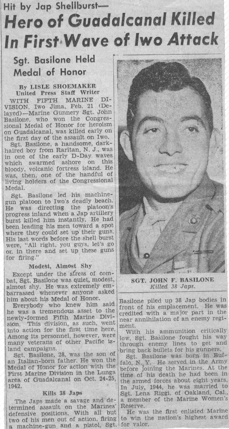 John Basilone 70th Anniversary of the Death of John Basilone