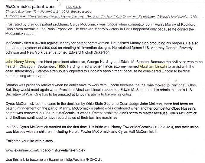 John Henry Manny John Henry Manny RPLs Local History
