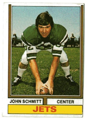 John Schmitt (American football) NEW YORK JETS John Schmitt 363 TOPPS 1974 NFL American Football