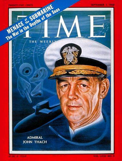 John Thach TIME Magazine Cover Rear Adm John Thach Sep 1 1958