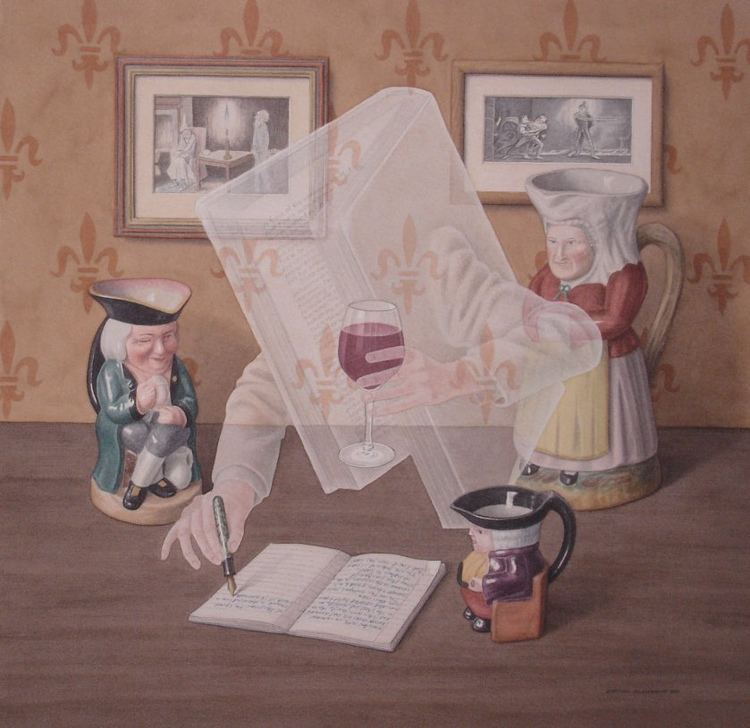 Jonathan Wolstenholme Charming Paintings of Vintage Books That Smoke Drink and