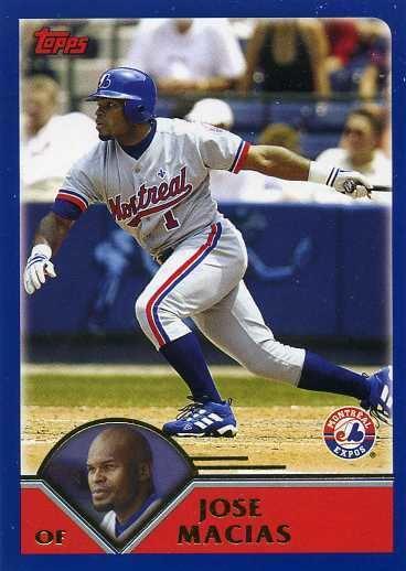 José Macías 2003 Topps Baseball 524 Jose Macias Montreal Expos Baseball Cards