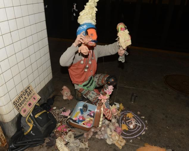 Kalan Sherrard Anarchist puppeteer cuffed in NYC subway station NY