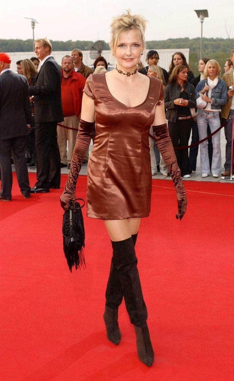 Katharina Schubert German actress Katharina Schubert wearing satin opera gloves