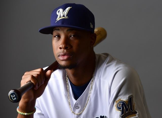 Keon Broxton Brewers outfielder Keon Broxton leaves game after taking pitch to