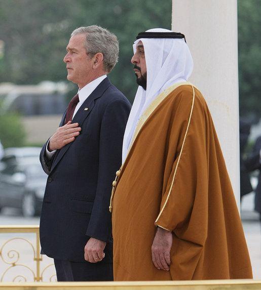 Khalifa bin Zayed Al Nahyan President George W Bush and President Sheikh Khalifa bin Zayed Al
