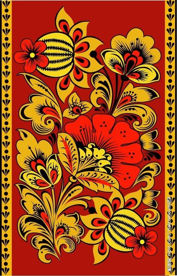 Khokhloma Folk Khokhloma painting from Russia A floral pattern Embroidery