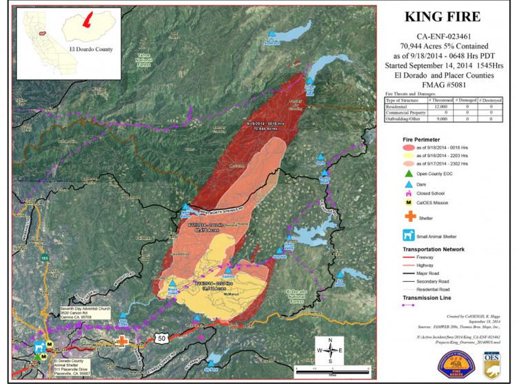 King Fire King Fire Started by Felon Fire Triples inSize amp Moves 16Miles