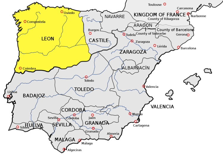Kingdom of León - Alchetron, The Free Social Encyclopedia on bay of biscay map, viceroyalty of peru map, duchy of burgundy map, castile europe map, republic of florence map, united kingdom on world map, republic of venice map, duchy of brittany map, kingdom of castile in spain, republic of genoa map, kingdom of denmark map, kingdom of burgundy map,