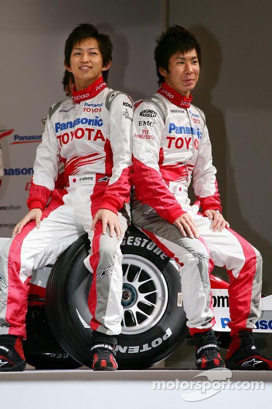 Kohei Hirate Kohei Hirate and Kamui Kobayashi at Toyota TF107 launch