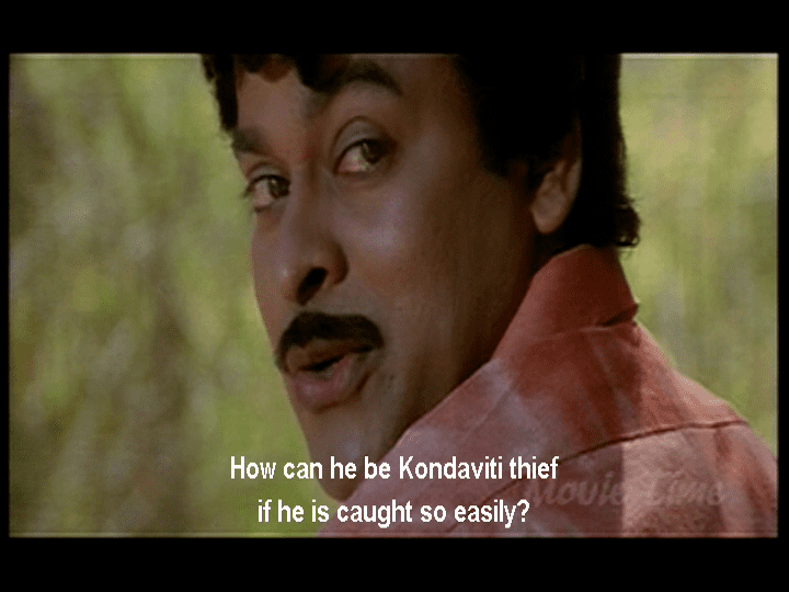Kondaveeti Donga movie scenes There is romance dancing and eccentric wardrobe as the ladies live out their fantasies in songs with the obliging Raja He is a decent bloke who genuinely