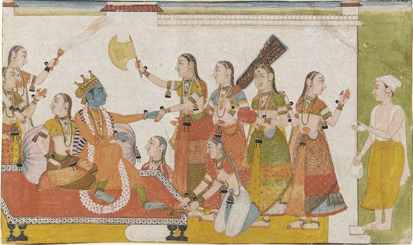 Krishna Kuchela movie scenes Krishna welcomes Sudama Bhagavata Purana 17th century manuscript