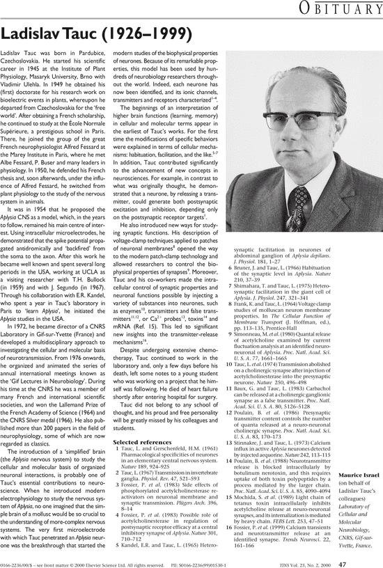 Ladislav Tauc Ladislav Tauc 19261999 Trends in Neurosciences