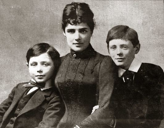 Lady Randolph Churchill Portrait of Lady Randolph Churchill with her two sons