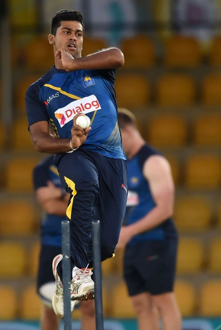 Lahiru Kumara Teenager Lahiru Kumara prepares to bowl during a training session