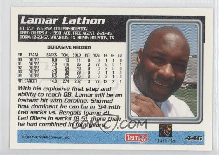 Lamar Lathon 1995 Topps Carolina Panthers Special Inaugural Season 446
