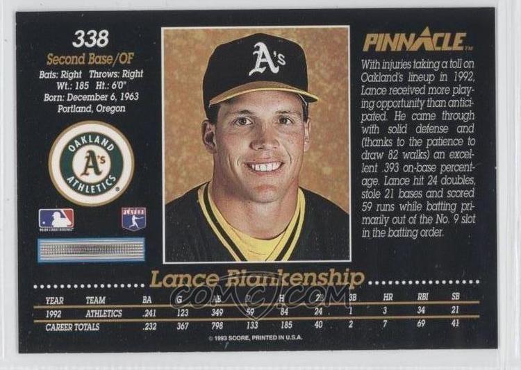 Lance Blankenship 1993 Pinnacle Base 338 Lance Blankenship COMC Card Marketplace