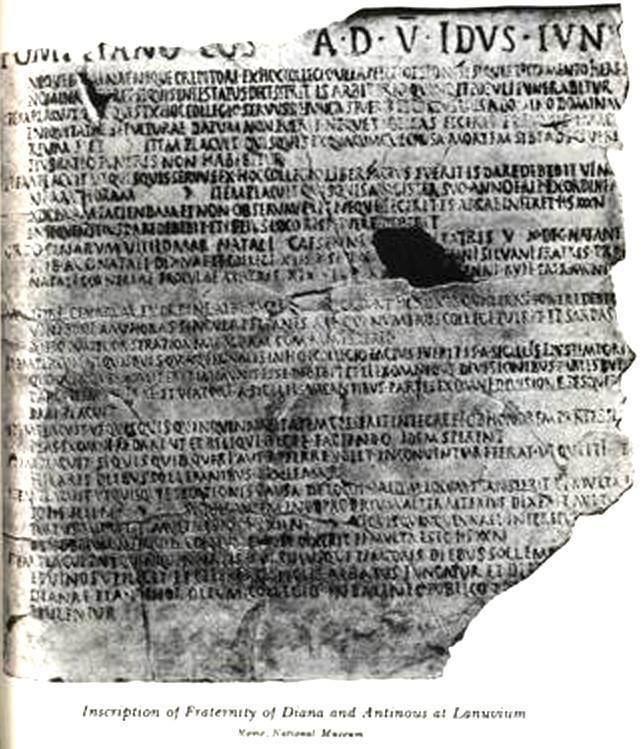 Lanuvium ANTINOUS THE GAY GOD THE LANUVIUM INSCRIPTION EXPLAINED By Flamen