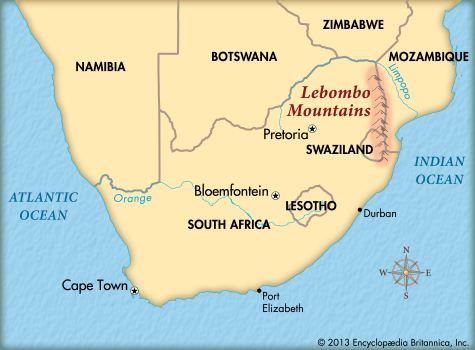 Lebombo Mountains Lebombo Mountains map Kids Encyclopedia Children39s Homework