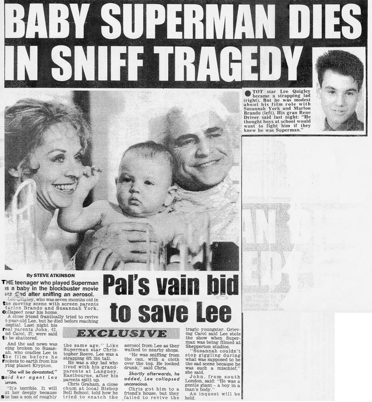 Susannah York smiling and Marlon Brando carrying Lee Quigley and an article about the death of Lee Quigley