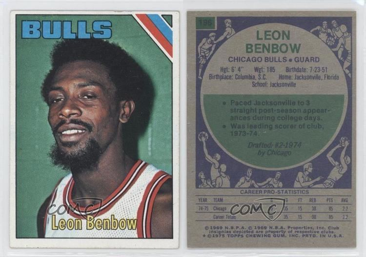 Leon Benbow 197576 Topps 196 Leon Benbow Chicago Bulls RC Rookie Basketball