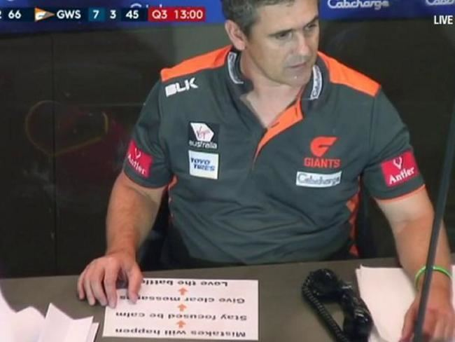 Leon Cameron GWS angry coach Leon Camerons notes broadcast during Giants v