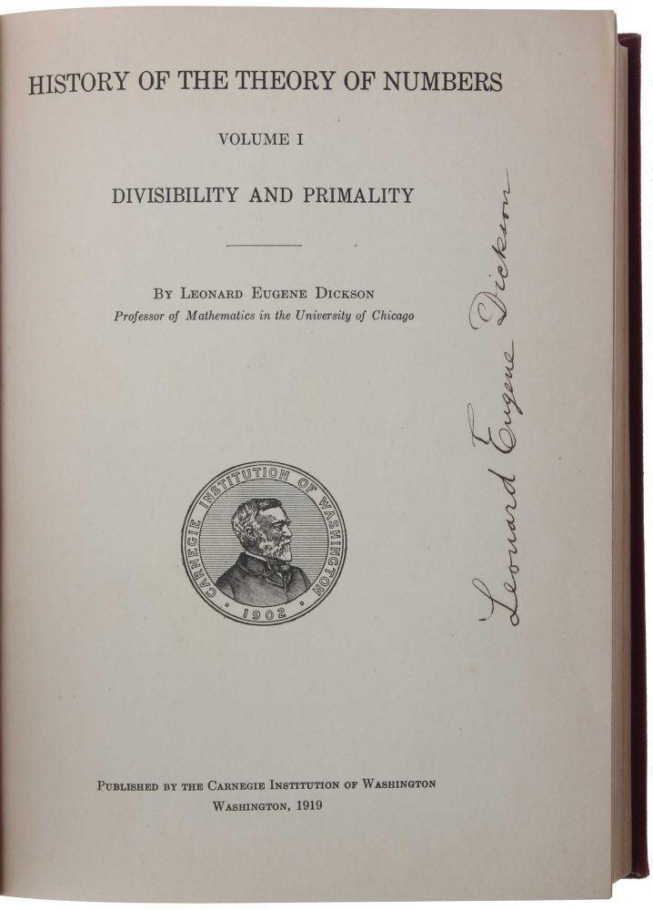 Leonard Eugene Dickson History of the Theory of Numbers 3 vols Leonard Eugene DICKSON