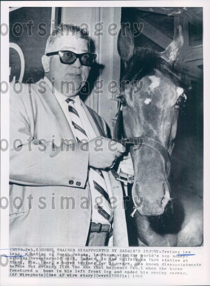 Les Lear 1965 Football Player Coach Horse Trainer Les Lear Race Horse Sadair
