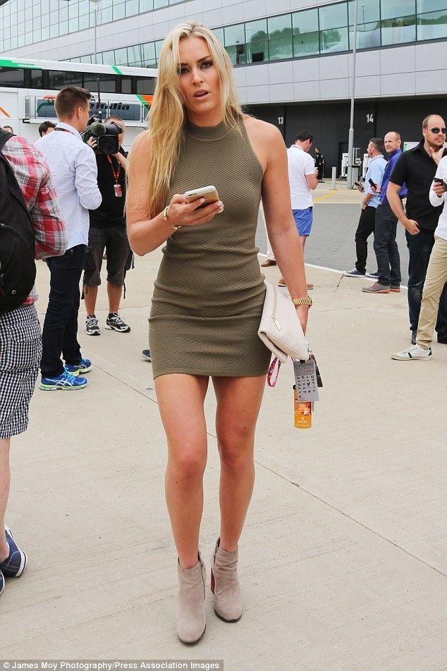Lindsey Vonn Lindsey Vonn flaunts her legs in mini dress at Silverstone