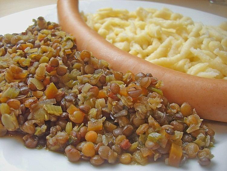 Linsen mit Spätzle Linsen mit Sptzle und Saitenwrstchen Rezept mit Bild Chefkochde