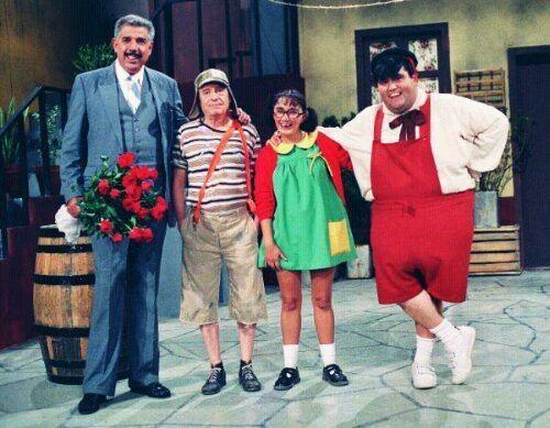 Rubén Aguirre, Roberto Gómez Bolaños, and Maria Antonieta de las Nieves in El Chavo del Ocho, 1972 tv series